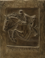 Horse sculpture in relief : Horse and rider jumping