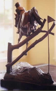 Eventing horse sculpture titled Every Second Counts.  Bronze limited edition of 15.
