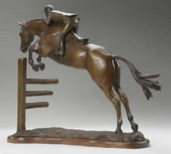 Horse sculpture of a young hunter / jumper taking off over a jump.  Sculpture of jumper is titled Young Hunter and is a bronze limited edition of 15