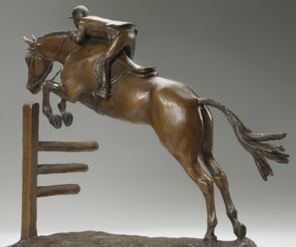 Horse sculpture of Hunter/Jumper titled Young Hunter. Bronze limited edition